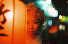 Forever Dreams (Jon Siegel) Tags: city portrait urban woman film girl beautiful japan night asian japanese 50mm iso800 evening nikon shinjuku bladerunner blonde lantern 12 filmcamera nikkor cinematography cinematic wongkarwai chochin nikonfe2 fe2 50mmf12 cinestill