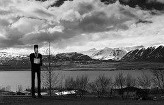 an unexpected Icelandic encounter (lunaryuna) Tags: bw panorama monochrome season landscape blackwhite iceland spring village fjord lunaryuna encounter strangeness mountainrange snowcappedmountains siglufjordur northiceland seasonalchange