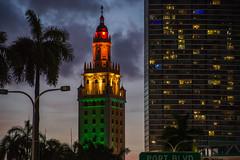 Freedom Tower Miami (miamiphotographerone) Tags: sunset usa tower freedom unitedstates florida miami miamibeach miamiriver sunrrise americanairlinesarena