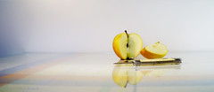 Simple Pleasures - an apple ;o) (Elisafox22 Internet On/Off at the moment) Tags: elisafox22 sony nex6 1855 lens simplepleasures apple shape shapes texture cut slice sliced pips stilllife knife penknife table tablecloth stripes indoors elisaliddell2016