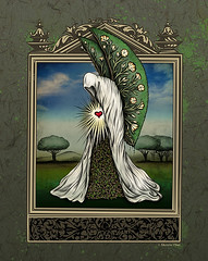 Life Beckons, by Sherrie Thai, Shaire Productions (shaire productions) Tags: life flowers blue trees summer sky plants plant tree green art love nature floral beauty leaves mystery illustration angel pen ink garden spring wings artwork heart image symbol outdoor drawing mixedmedia surrealism branches magic gothic birth goth arts victorian grow surreal style scene growth fabric figure mysterious vegetation imagination illustrator draw drawn creature magical angelic optimism myth figurative imagery imaginative beginnings detailed raysoflight mythical drapery optimistic mythic femaleartist groveoftrees sherriethai shaireproductions drapedfigure shaireproductionscom