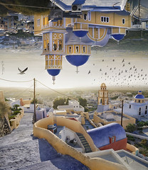 Santorini - Double Landscape (Ben Heine) Tags: old city morning blue houses light orange sunlight seagulls art love tourism church nature birds yellow fog composite architecture modern composition contrast buildings movie island photography freedom fly smog seaside colorful force image pov path air horizon faith religion perspective creative free tourist romance pointofview santorini greece digitalpainting gravity farewell pollution future romantic series sciencefiction vol breeze monuments cosmic grce depth oiseau brouillard ville ether sfumato influence futurist mouettes upanddown gravit batiments inception benheine doublelandscape