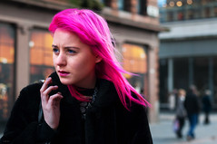 Heading for work ..... (csh 22) Tags: pink portrait girl 50mm glasgow streetportrait smoking pinkhair argylestreet topshop nikond90 glasgowstreetphotography glasgowstreetportrait