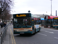 V152JKG 152 departs Cardiff Bus Station (rob37430) Tags: 152 cardiffbusstation v152jkg