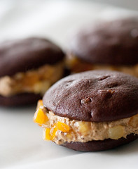 Mocha-orange whoopie with espresso cream filling (Kimmau) Tags: orange cooking coffee cake dessert baking yummy sweet chocolate cream tasty mocha snack espresso edible afternoontea orangepeel whoopie whoopiepie candiedpeel