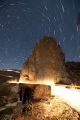 Show me the way (ChrisBrn) Tags: bridge light rock night stars nightsky startrails polaris cartrails