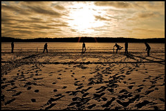 A friendly game of cricket (jannek) Tags: winter sunset snow game ice cricket luonnonmaa