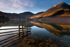 Buttermere Clear (John Finney) Tags: morning trees lake snow mountains fence dawn fineart lakedistrict clear haystacks wainwright cumbria stunning buttermere lakedistrictnationalpark mirrorlike buttermereclear