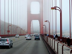 driving to sausalito ( cris  (searching for testimonials :)) Tags: auto sanfrancisco california bridge red usa cars fog america driving ponte goldengatebridge nebbia westcoast rosso bej abigfave flickrdiamond