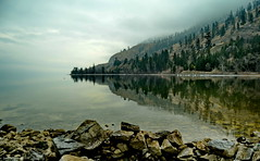 Okanagan Lake Disappearing into the Mist (Photography Through Tania's Eyes) Tags: trees sky cloud lake canada water fog pine reflections landscape photography photo nikon rocks photographer bc image britishcolumbia okanagan shoreline photograph cottonwood summerland okanaganlake okanaganvalley copyrightimage okanaganlakeprovincialpark nikond7000 taniasimpson