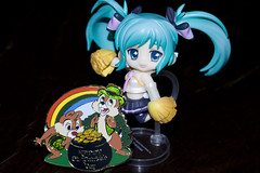 Hooray for St. Paddy's Day!!! (katsuboy) Tags: japan toys gold rainbow pins disney clover figures stpatricksday petit waltdisney chipanddale potofgold bfigure tradingpins nendoroid mikuhatsune
