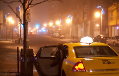 Taxi Stand (Sawyer Photography) Tags: street camera city people woman ontario canada streets color colour building cars girl fog skyline architecture night landscape 50mm prime nikon women downtown durham serious outdoor f14 candid cab taxi assignment arts adobe nightlife portfolio sawyer nikkor gta cy cyril edit lightroom oshawa dlsr durhamregion vehciles d700 jaredpolin froknowsphoto froknowsphotocom rapidfirecritique audicy