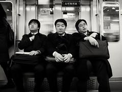 The commute. (c_c_clason) Tags: leica blackandwhite japan train tokyo suits metro digilux2 schwarzweiss businessmen