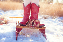 Happy Valentine's Day! (Kimberly Chorney) Tags: winter red snow sweet naturallight xo sled littlefeet goldentones redcowgirlboots