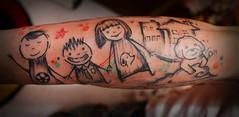 Freehand tatttoo family tattoo  (amazing Tattoo) Tags: men tattoo graphicdesign matchstick  freehandtattoo