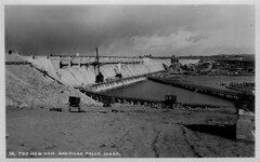 [IDAHO-A-0318] American Falls Dam (waterarchives) Tags: bridge train construction dam idaho snakeriver irrigation realphotopostcardrppc minidokaproject bureauofreclamationbor americanfallsdam