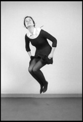 Mimic of Philippe Halsman's image of Grace Kelly (matthew878) Tags: bw film 35mm canon studio jumping ae1 program hp5 illford mimic philippe imitation halsman