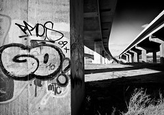 Go! (Richard Reader (luciferscage)) Tags: road urban bw monochrome lines landscape kent grafitti motorway grunge go pillar bridges explore february feb m2 medway 2012 ctrl grot 2011 nikond700 richardreader afsnikkor1635mm14ged