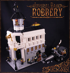 Bank: general view (captainsmog) Tags: plants building gold lego chest bank panic batman copper safe gears cristal vignette diorama bandits drill steampunk robbers