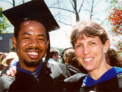 Anthropology Professor Carol Hendrickson Congratulates Just-graduated Colin Young.