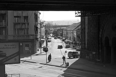street under the bridge (aleksandar1123) Tags: street city bridge bw cars shadows availablelight serbia tracks belgrade brankovmost karadjordjeva
