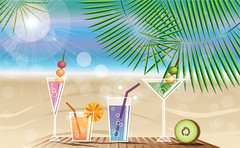 Summer cocktails (BlueLela) Tags: ocean travel light sea summer wallpaper vacation sky sun sunlight holiday seascape tree tourism beach nature water fruit illustration relax landscape island happy sand paradise day view drink background postcard text decoration creative sunny palm resort palmtrees cocktail drinks tropical tropicalisland rest leisure summertime concept cocktails kiwi sunnybeach greeting vector refreshment summerholiday sunnysky summerholidaycard