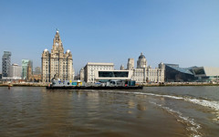Three Graces from Ferry (Scouse Smurf) Tags: building ferry liverpool threegraces cunard mersey pierhead royalliver portofliverpool riverexplorer