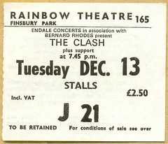 The Clash punk concert ticket The Rainbow, London 1977