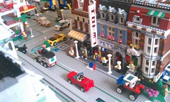 (jth781) Tags: city light red pet shop corner town cafe lego jeep 4x4 police convertible mini sound collectible van suv figures 2012 flickrandroidapp:filter=none