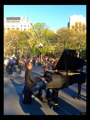 """ Performance "" (ColFineArtistMar1) Tags: park city nyc trees sky people music public buildings outdoors day manhattan performance piano culture diversity sunny entertainment gather mucisician"