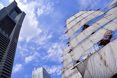 : full sail (naitokz) Tags: sky building japan skyscraper sail yokohama  landmarktower bldg nipponmaru    blud