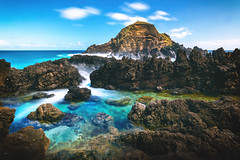 Lavapools in Madeira (NIOphoto.) Tags: ocean longexposure blue sky motion water rock stone landscape volcano lava rocks smooth clear porto madeira moniz
