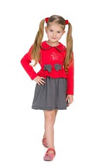 Walking little girl (khanov2007) Tags: red portrait people cute girl smile childhood fashion cutout studio happy person one kid pretty european alone child dress little small think young adorable indoor glad single positive lovely enjoyment isolated caucasian positivity
