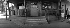 Talent Club (ASHLANDJET) Tags: street blackandwhite panorama film beer monochrome bar oregon analog 35mm kodak candid wideangle talent tavern vintagecamera swinglens bw400cn wideluxf7
