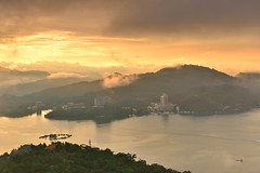 Sun Moon Lake  (Vincent_Ting) Tags: morning sunset sky lake water clouds sunrise dawn pier taiwan galaxy   crepuscularrays  sunmoonlake                  vincentting