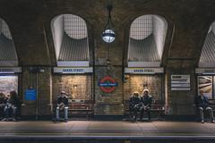 Baker Street, London, UK (Dmitry Tkachenko) Tags: bakerstreet underground thetube tube subway london uk england metro people retro old reading sherlockholmes httpwwwdmitryphoto unidetkingdom photosfromuk ukphotos nikon 50mm fx europe