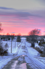 Blustery (Matt Champlin) Tags: life winter sunset snow cold nature rural canon landscape vanishingpoint colorful country windy blowing upstatenewyork series pinks 2012 lakeeffect winterscape blustery skaneateles countryroadsinwinter longcountryroads ruralroadsinwinter