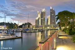 Keppel Bay in the evening (Reggie Wan) Tags: city architecture evening singapore asia southeastasia moderncity asiancity keppelbay reflectionsatkeppelbay reggiewan gettyimagessingaporeq1