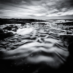 2-22-12 Shimmer (Nate Parker Photography) Tags: ocean longexposure blackandwhite bw seascape reflection water landscape flow coast maine le coastline marsh ripples shimmer mainecoast mountdesertisland mdi haveaniceday coastofmaine