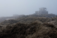 memories. (FrdericLouis) Tags: building nature grass fog coast construction military dunes dune lookout bunker coastline fortification oostende duinen defence ostend duin marram