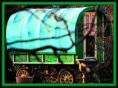 The Magical Caravan (Dazzygidds) Tags: wonderful derbyshire katherine mum colourful sublime spying highlandcattle peakdistrictnationalpark moorland baslow gypsycaravan tangledinbranches longshawcountryestate oldchesterfieldroad magiccaravan vividbeautifuldecoration