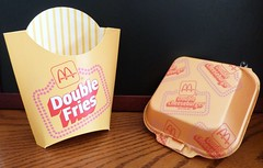 1987 McDonald's 'Double Feature' Double Cheeseburger & Double Fries boxes (daniel85r) Tags: mcdonalds 1980s vintagepackaging vintagemcdonalds 80smcdonalds