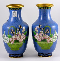 54. Pair of Gilt Metal Cloisonne Vases