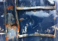 Bashed (AH in Pgh) Tags: blue metal dumpster rust damage dents bashed