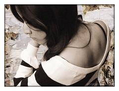 introvert 2 (piktorio) Tags: portrait berlin girl beauty germany hair paper de spring background stripes c profile grain teen montage lookingdown shoulder comb calinago
