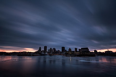 City on Ice (philessing) Tags: longexposure winter canada motion ice skyline clouds canon frozen movement twilight quebec montreal 5d oldport canonef1740mmf4lusm hdr lightroom saintlawrenceriver canoneos5d