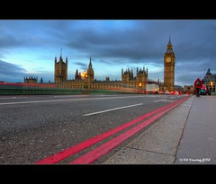 Westminster - Big Ben (Kit Downey) Tags: city uk morning bridge houses light england london westminster canon lens point eos rebel dawn early big kiss december cityscape view traffic angle ben low capital wide trails parliament tourist tokina explore rush hour kit iconic ultra f28 hdr cliche x4 attraction downey 2011 photomatix tonemapped explored 550d t2i 1116mm
