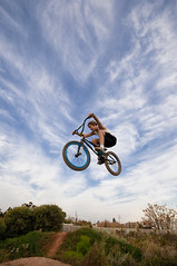 UP IN THE AIR (Jgor Cava) Tags: sky bicycle sport fly crazy jump bmx offroad extreme wide wideangle volo bici salto grandangolo trial bicicletta rampa volare acrobazia vel