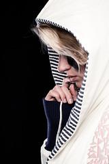 Empress (dawolf-) Tags: portrait canon mouth nose eos 50mm hand finger profile makeup headshot thinking 7d blonde hood softbox striplight nailbiting beautydish strobist