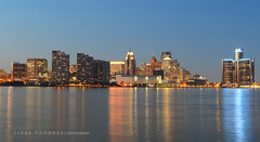 Detroit with my D800 (Linda Goodhue) Tags: sunset usa canada reflection water skyline river geotagged cityscape border nightshoot riverfront detroitriver detroitmichigan windsorontario internationalborder 36mp nikond800 lindagoodhuephotography nikkorf282470mmlens
